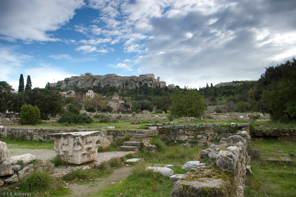 Acropolis and Mars Hill right seen from Greek Agora